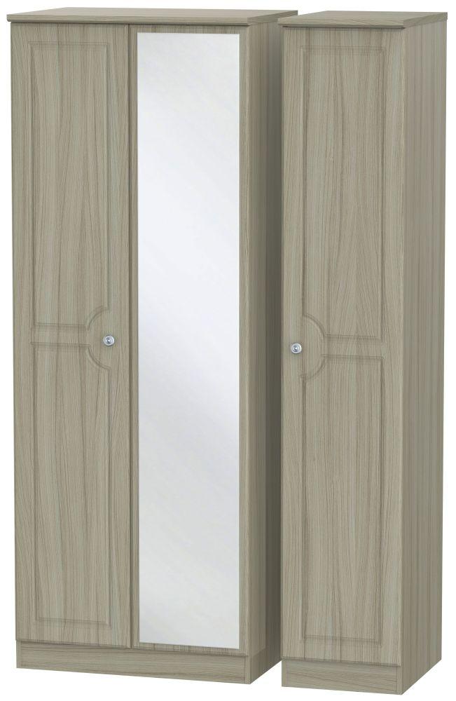 Pembroke Driftwood 3 Door Tall Mirror Triple Wardrobe