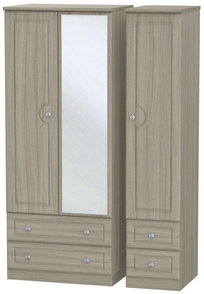 Pembroke Driftwood 3 Door 4 Drawer Mirror Triple Wardrobe
