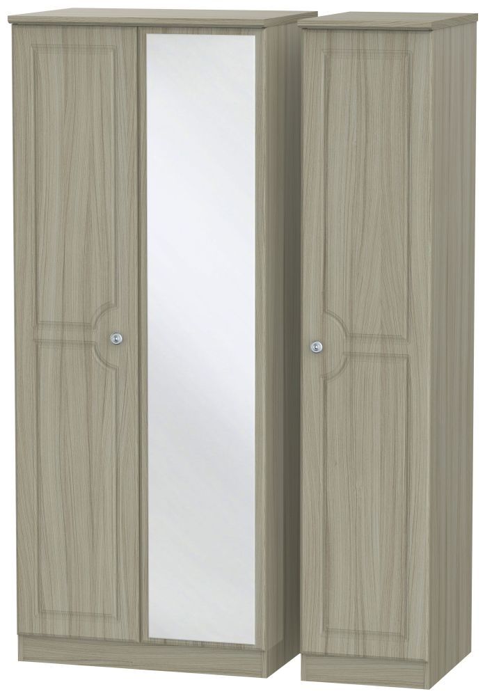 Pembroke Driftwood Triple Wardrobe - with Mirror