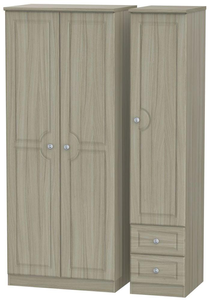 Pembroke Driftwood 3 Door 2 Drawer Plain Wardrobe
