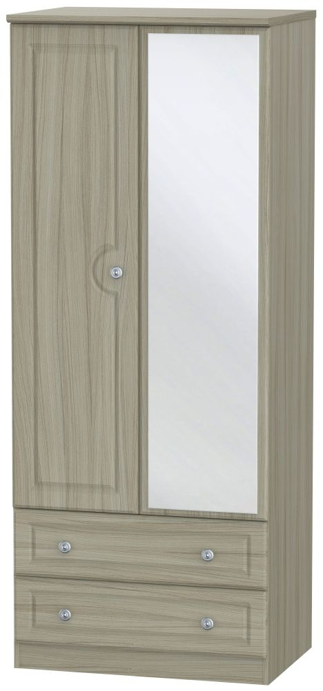Pembroke Driftwood 2 Door 2 Drawer Mirror Wardrobe