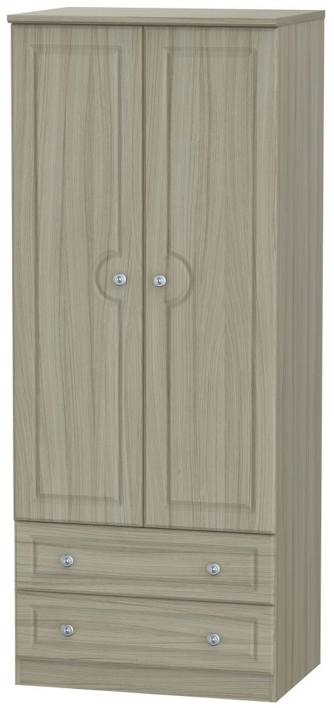 Pembroke Driftwood 2 Door 2 Drawer Wardrobe