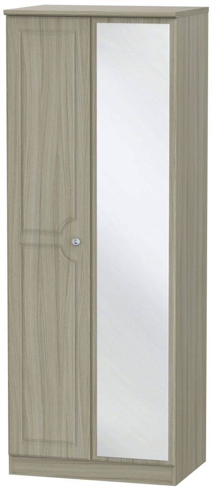 Pembroke Driftwood 2 Door Tall Mirror Double Wardrobe