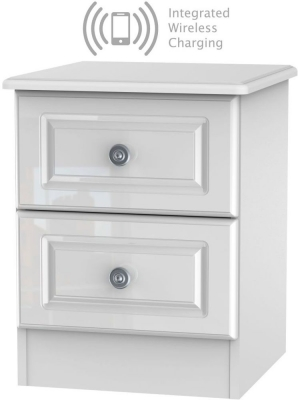 Pembroke High Gloss White 2 Drawer Bedside Cabinet with Integrated Wireless Charging