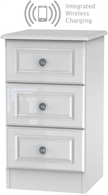 Pembroke High Gloss White 3 Drawer Bedside Cabinet with Integrated Wireless Charging