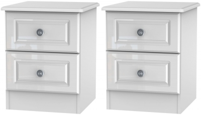 2 X Pembroke High Gloss White 2 Drawer Bedside Cabinet (Pair)