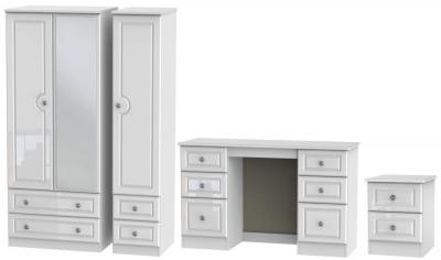 Knightsbridge High Gloss White 3 Piece Bedroom Set with 3 Door Combi Wardrobe