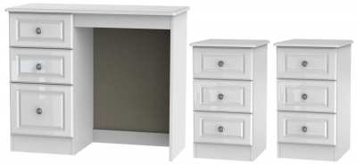 Knightsbridge High Gloss White 3 Piece Bedroom Set with 3 Drawer Bedside