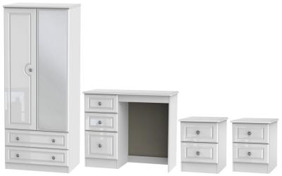 Knightsbridge High Gloss White 4 Piece Bedroom Set with 2 Door Combi Wardrobe