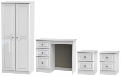Knightsbridge High Gloss White 4 Piece Bedroom Set with 2 Door Wardrobe