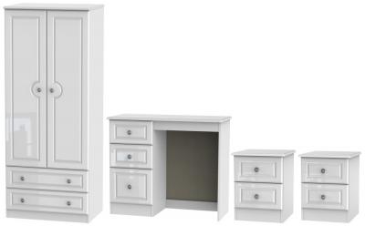 Knightsbridge High Gloss White 4 Piece Bedroom Set with 2 Drawer Wardrobe