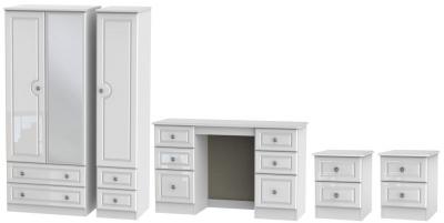 Knightsbridge High Gloss White 4 Piece Bedroom Set with 3 Door Combi Wardrobe