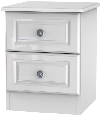 Pembroke High Gloss White 2 Drawer Bedside Cabinet