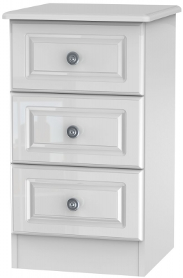 Pembroke High Gloss White 3 Drawer Bedside Cabinet