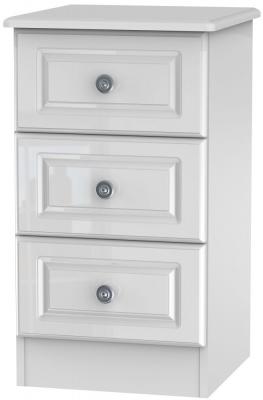 Pembroke High Gloss White 3 Drawer Bedside Cabinet