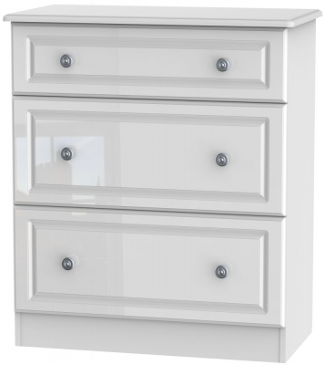 Pembroke High Gloss White 3 Drawer Deep Chest
