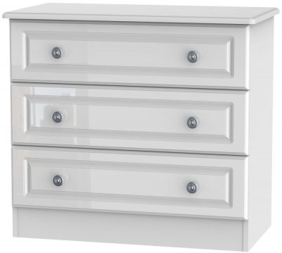 Pembroke High Gloss White 3 Drawer Chest