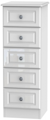 Pembroke High Gloss White 5 Drawer Tall Chest