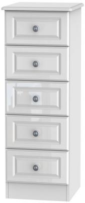 Pembroke High Gloss White 5 Drawer Tall Chest