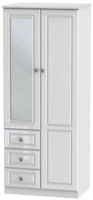 Pembroke High Gloss White 2 Door 3 Drawer Wardrobe