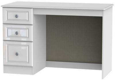 Pembroke High Gloss White Desk - 3 Drawer