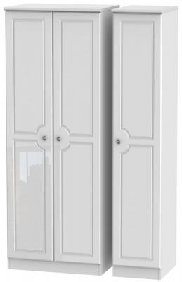 Pembroke High Gloss White 3 Door Tall Plain Wardrobe