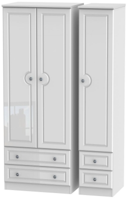 Pembroke High Gloss White 3 Door 4 Drawer Tall Wardrobe