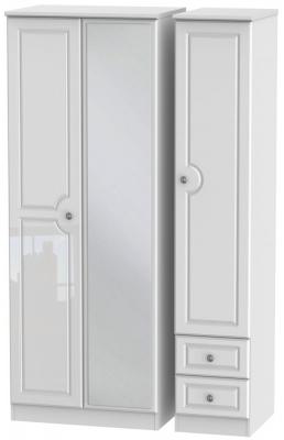 Pembroke High Gloss White 3 Door 2 Right Drawer Tall Mirror Wardrobe