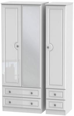 Pembroke High Gloss White 3 Door 4 Drawer Tall Mirror Wardrobe