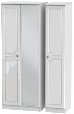 Pembroke High Gloss White 3 Door Tall Mirror Wardrobe