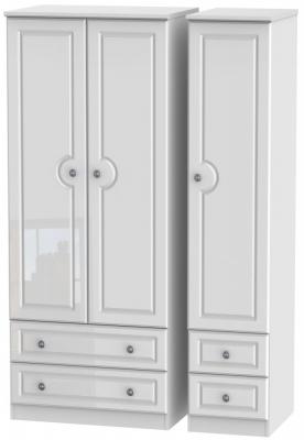 Pembroke High Gloss White 3 Door 4 Drawer Wardrobe