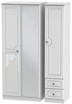 Pembroke High Gloss White 3 Door 2 Right Drawer Mirror Wardrobe