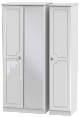 Pembroke High Gloss White 3 Door Mirror Wardrobe