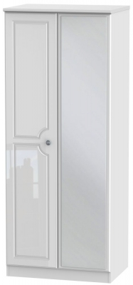 Pembroke High Gloss White 2 Door Mirror Wardrobe