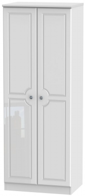 Pembroke High Gloss White 2 Door Tall Plain Wardrobe