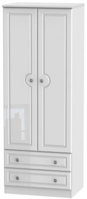 Pembroke High Gloss White 2 Door 2 Drawer Tall Wardrobe