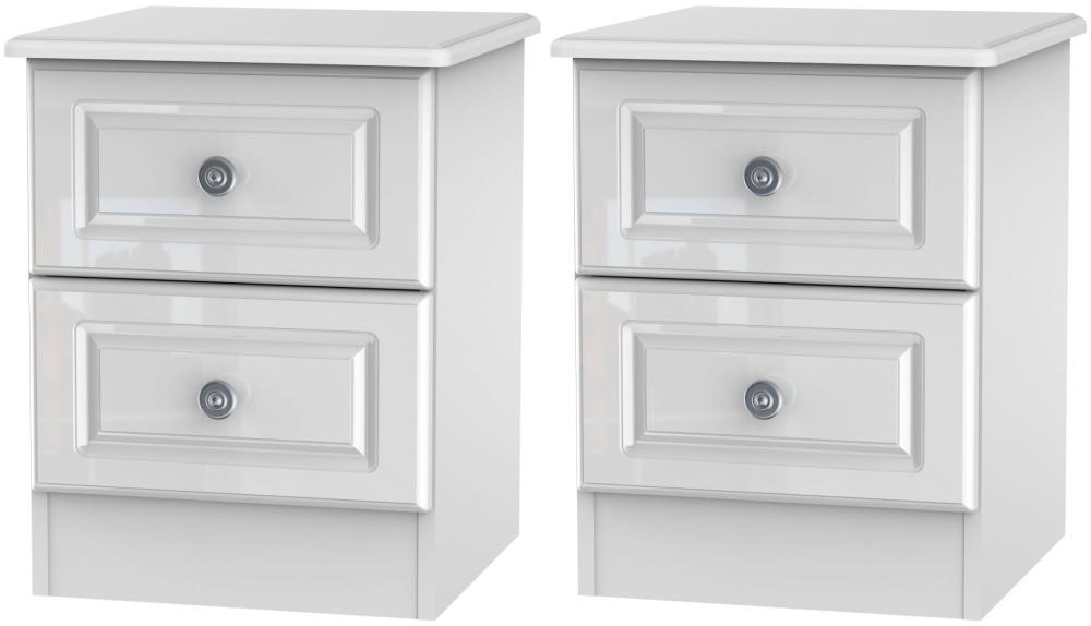 2 X Knightsbridge High Gloss White 2 Drawer Bedside Cabinet (Pair)