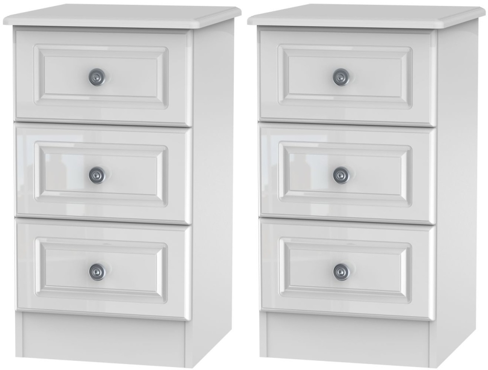 2 X Knightsbridge High Gloss White 3 Drawer Bedside Cabinet (Pair)