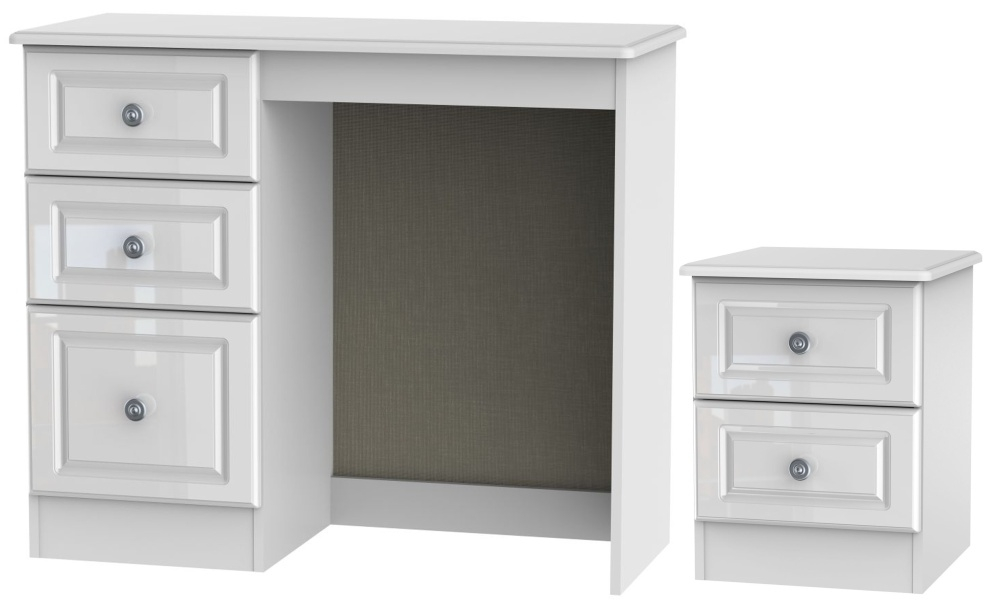 Knightsbridge High Gloss White 2 Piece Bedroom Set with 2 Drawer Bedside