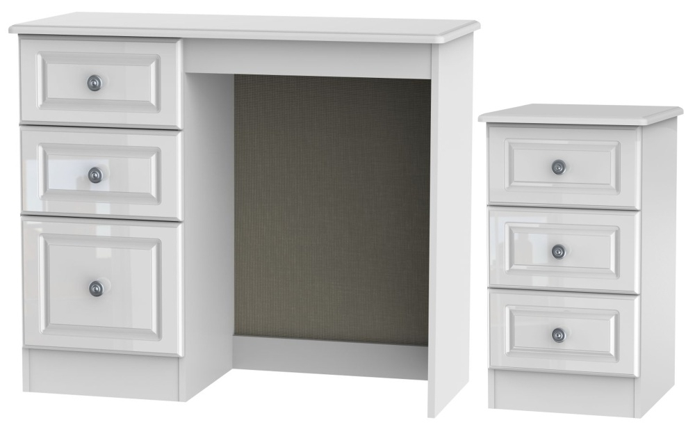 Knightsbridge High Gloss White 2 Piece Bedroom Set with 3 Drawer Bedside