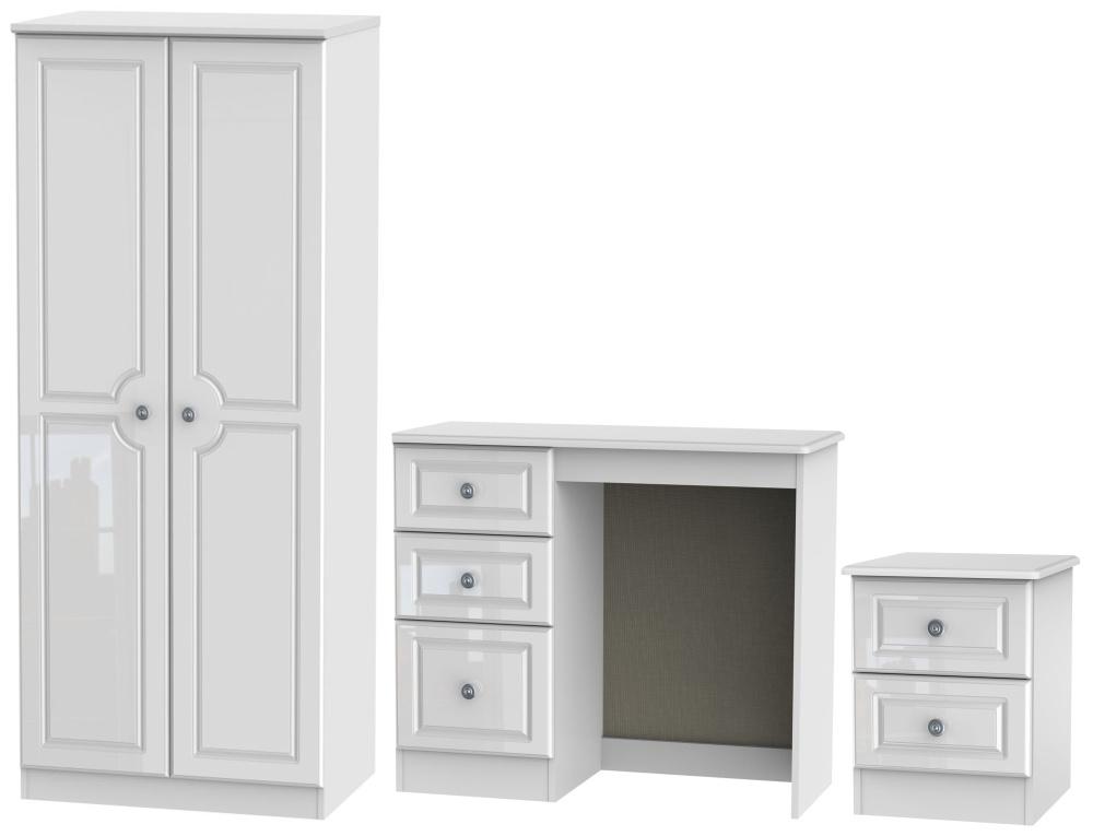 Knightsbridge High Gloss White 3 Piece Bedroom Set with 2 Door Wardrobe