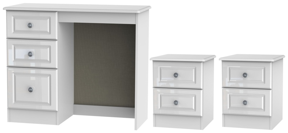 Knightsbridge High Gloss White 3 Piece Bedroom Set with 2 Drawer Bedside