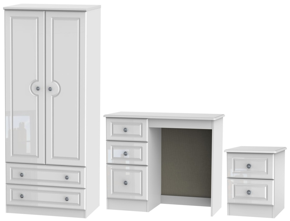 Knightsbridge High Gloss White 3 Piece Bedroom Set with 2 Drawer Wardrobe