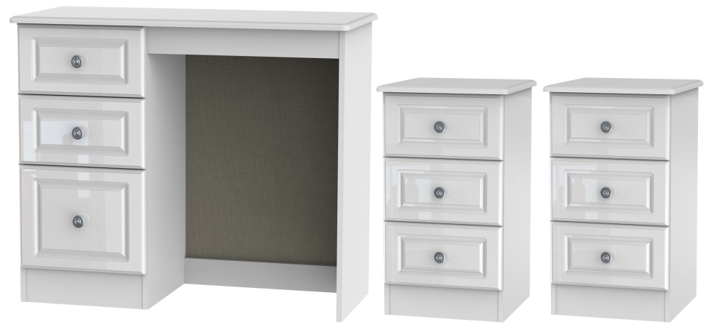 Pembroke High Gloss White 3 Piece Bedroom Set with 3 Drawer Bedside