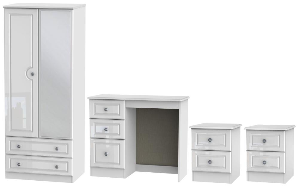 Pembroke High Gloss White 4 Piece Bedroom Set with 2 Door Combi Wardrobe