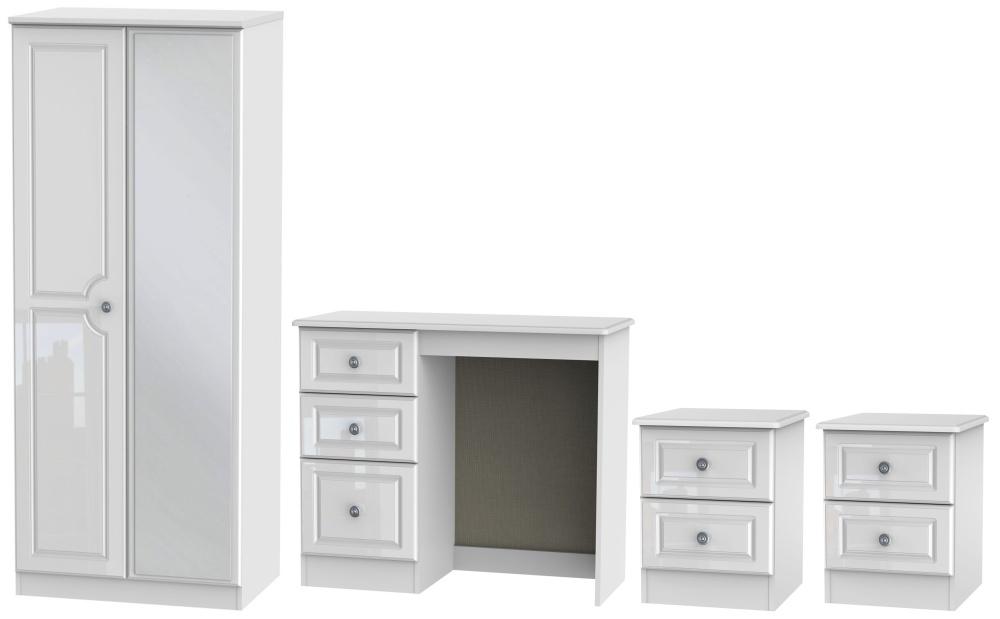 Pembroke High Gloss White 4 Piece Bedroom Set with 2 Door Mirror Wardrobe