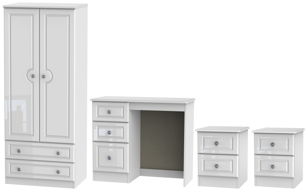 Pembroke High Gloss White 4 Piece Bedroom Set with 2 Drawer Wardrobe