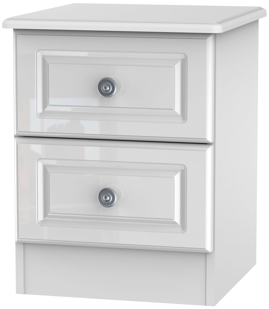 Pembroke High Gloss White 2 Drawer Locker Bedside Cabinet