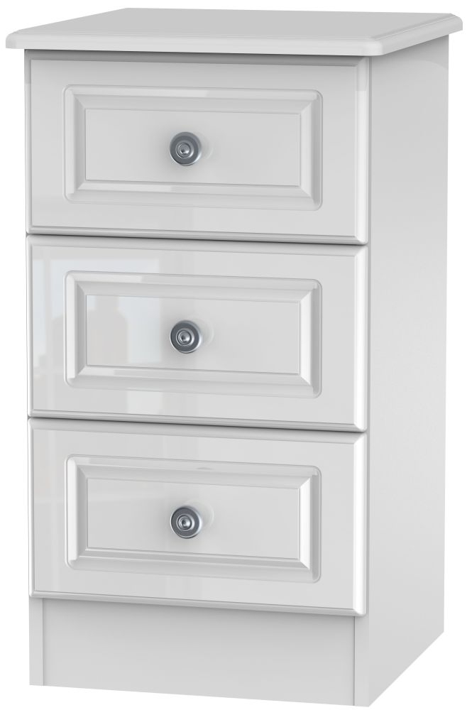 Pembroke High Gloss White Bedside Cabinet - 3 Drawer Locker