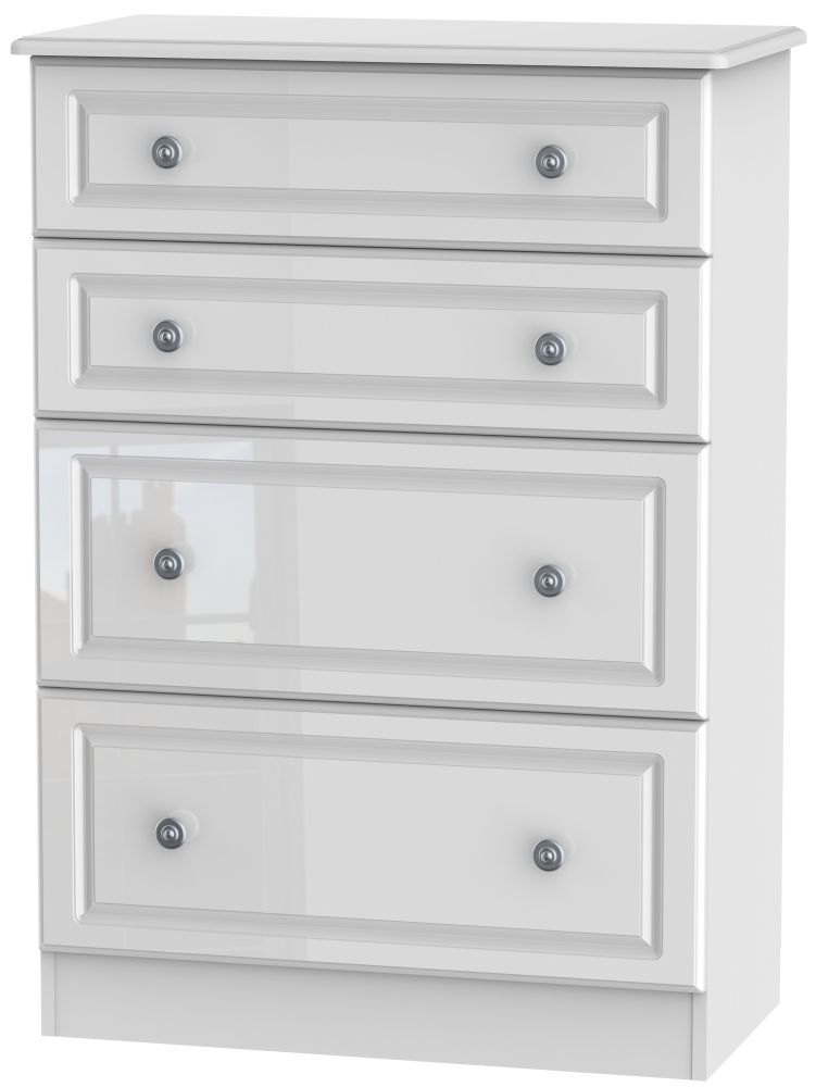 Pembroke High Gloss White 4 Drawer Deep Chest